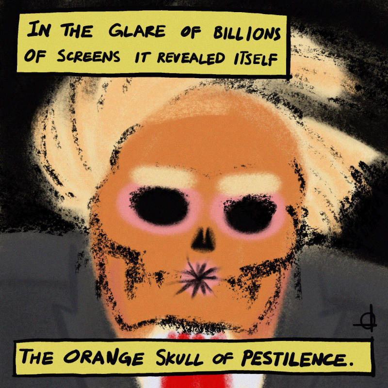 The orange skull of pestilence.