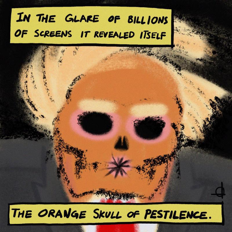 The orange skull of pestilence.